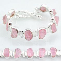 41.53cts natural pink rose quartz raw 925 silver tennis bracelet t7838