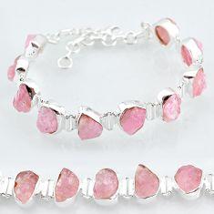 39.01cts natural pink rose quartz raw fancy 925 silver tennis bracelet t7840