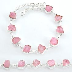 31.73cts natural pink rose quartz raw sterling silver tennis bracelet t7801