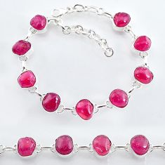 35.34cts natural pink ruby raw 925 sterling silver tennis bracelet t7793
