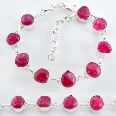 33.76cts natural pink ruby raw 925 sterling silver tennis bracelet t7794