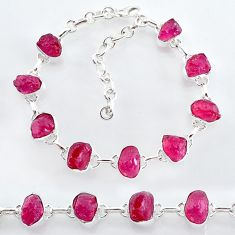 32.57cts natural pink ruby raw 925 sterling silver tennis bracelet t7795