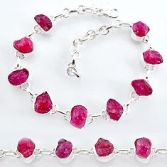 30.52cts natural pink ruby raw 925 sterling silver tennis bracelet t7796