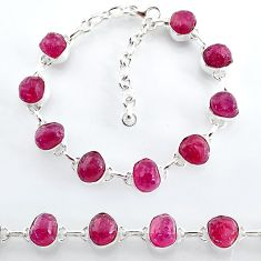 35.81cts natural pink ruby raw 925 sterling silver tennis bracelet t7797