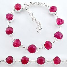 32.86cts natural pink ruby raw 925 sterling silver tennis bracelet t7799