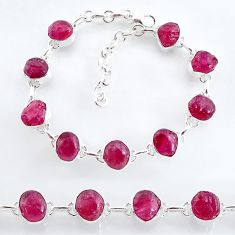 33.33cts natural pink ruby raw 925 sterling silver tennis bracelet t7800