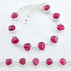 33.33cts natural pink ruby raw 925 sterling silver tennis bracelet t7805