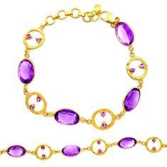 27.55cts natural purple amethyst 925 silver 14k gold tennis bracelet r27593