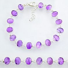 21.50cts natural purple amethyst 925 sterling handmade silver bracelet r88246