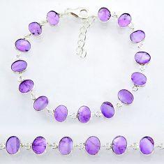 22.63cts natural purple amethyst 925 sterling handmade silver bracelet r88249