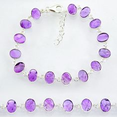 20.19cts natural purple amethyst 925 sterling handmade silver bracelet r88250