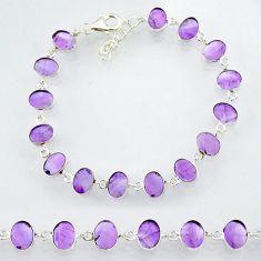 22.66cts natural purple amethyst 925 sterling handmade silver bracelet r88252