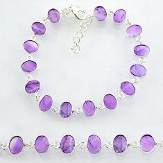 20.89cts natural purple amethyst 925 sterling handmade silver bracelet r88253