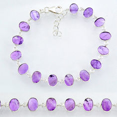 20.31cts natural purple amethyst 925 sterling handmade silver bracelet r88255