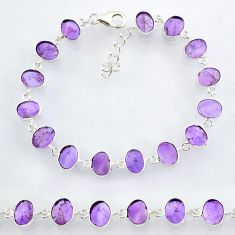 21.99cts natural purple amethyst 925 sterling handmade silver bracelet r88256