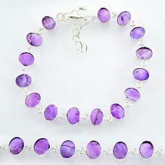 22.08cts natural purple amethyst 925 sterling handmade silver bracelet r88257