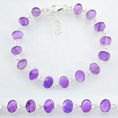 22.66cts natural purple amethyst 925 sterling handmade silver bracelet r88258