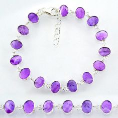 21.93cts natural purple amethyst 925 sterling handmade silver bracelet r88259