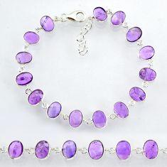 22.05cts natural purple amethyst 925 sterling handmade silver bracelet r88260
