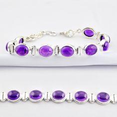 37.45cts natural purple amethyst 925 sterling silver tennis bracelet r38799