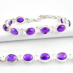 37.86cts natural purple amethyst 925 sterling silver tennis bracelet r39033