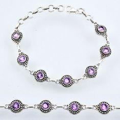 6.28cts natural purple amethyst 925 sterling silver tennis bracelet r54927