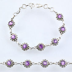 6.01cts natural purple amethyst 925 sterling silver tennis bracelet r54949