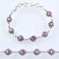 6.02cts natural purple amethyst 925 sterling silver tennis bracelet r54950