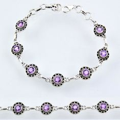 5.81cts natural purple amethyst 925 sterling silver tennis bracelet r54962
