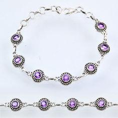 6.29cts natural purple amethyst 925 sterling silver tennis bracelet r54991