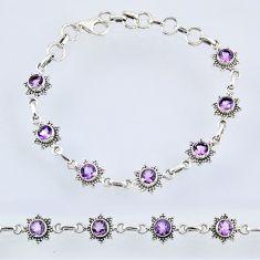 6.61cts natural purple amethyst 925 sterling silver tennis bracelet r55010