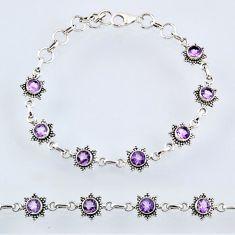 6.61cts natural purple amethyst 925 sterling silver tennis bracelet r55011