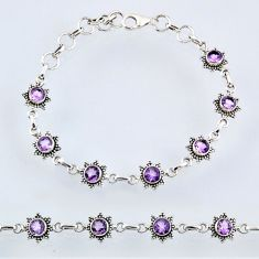 6.61cts natural purple amethyst 925 sterling silver tennis bracelet r55012