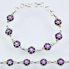 6.90cts natural purple amethyst 925 sterling silver tennis bracelet r55028