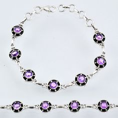6.92cts natural purple amethyst 925 sterling silver tennis bracelet r55029