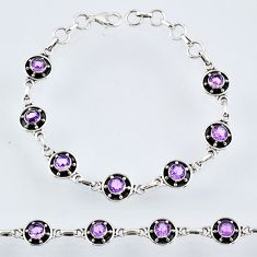 6.94cts natural purple amethyst 925 sterling silver tennis bracelet r55030