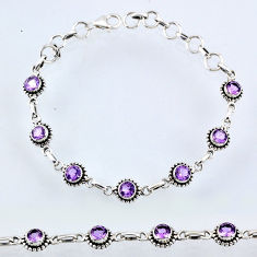 6.78cts natural purple amethyst 925 sterling silver tennis bracelet r55051