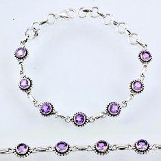 6.77cts natural purple amethyst 925 sterling silver tennis bracelet r55052