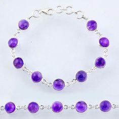 24.89cts natural purple amethyst 925 sterling silver tennis bracelet r55067