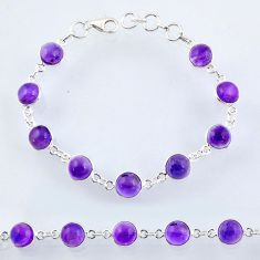 25.31cts natural purple amethyst 925 sterling silver tennis bracelet r55068
