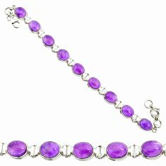 37.02cts natural purple amethyst 925 sterling silver tennis bracelet r84183