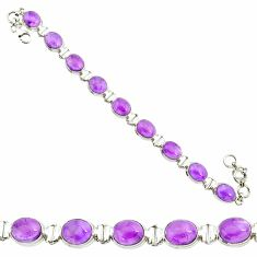 37.86cts natural purple amethyst 925 sterling silver tennis bracelet r84240