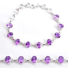 17.34cts natural purple amethyst 925 sterling silver tennis bracelet r94061