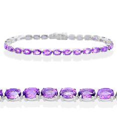 27.16cts natural purple amethyst 925 sterling silver tennis bracelet t12275