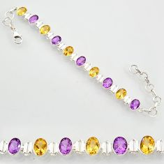21.38cts natural purple amethyst citrine 925 silver tennis bracelet r87077
