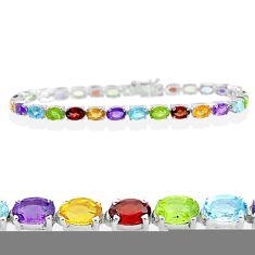 27.00cts natural purple amethyst peridot topaz 925 silver tennis bracelet t12261