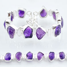 38.46cts natural purple amethyst raw 925 sterling silver tennis bracelet t6711