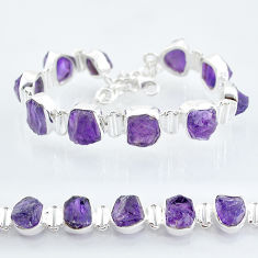 43.71cts natural purple amethyst raw 925 sterling silver tennis bracelet t6712