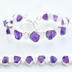 41.93cts natural purple amethyst raw 925 sterling silver tennis bracelet t6714