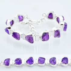 40.99cts natural purple amethyst raw 925 sterling silver tennis bracelet t6715